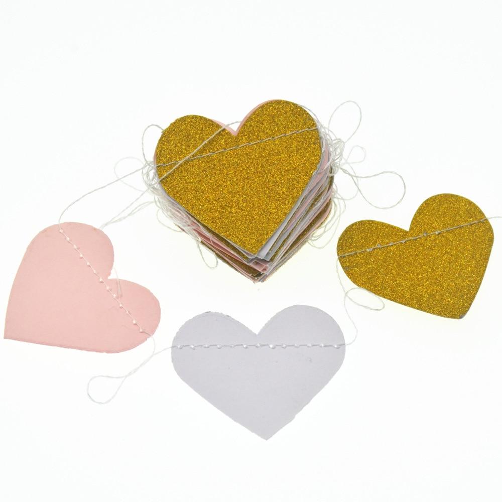 1set 2.5m Multicolor Glitter Paper Garland Heart Kids Baby Shower Birthday Party Banner Supplies Wedding Event Home Decoration