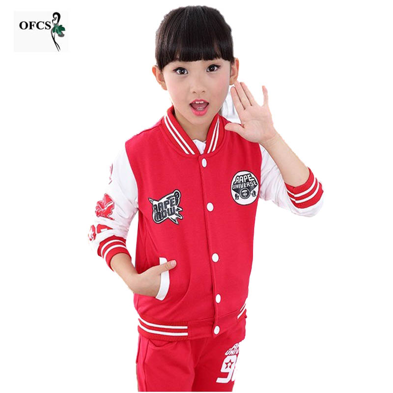 Autumn Girls Clothes Boys Sport Suit Children Clothing Set Kids Tracksuit Teenager Baseball jersey 3-16 T Kids Clothes 2Pcs/Lot стоимость