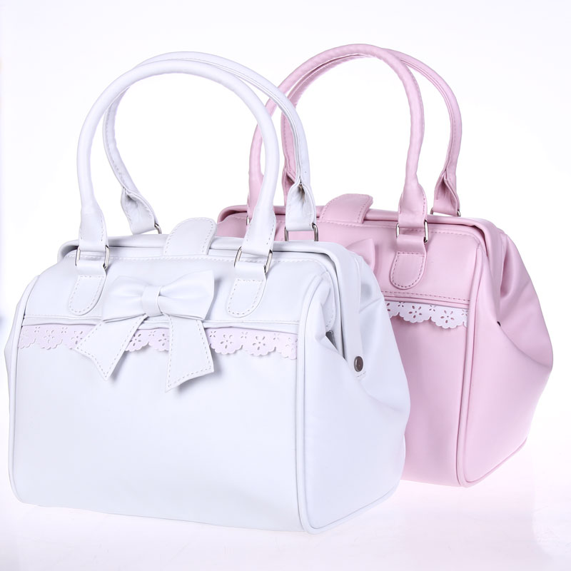 Princess sweet lolita handbags Cos cute bow lace white and pink handbag lolita cosplay gentlewoman bag loris002 аксессуары для косплея flower vine ichigo cos cos lolita cosplay