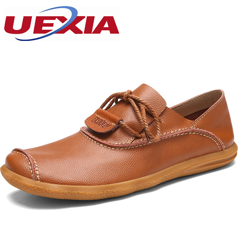 Men's Leather Casual Flats Shoes Handmade Designer Walking Shoe Mens Fashion Slip-on Loafer Zapatos Hombres Sapatos Chaussure women bright leather flats round toe shallow chaussure soft sole ladies shoes low heel spring casual loafer shoe slip on flats