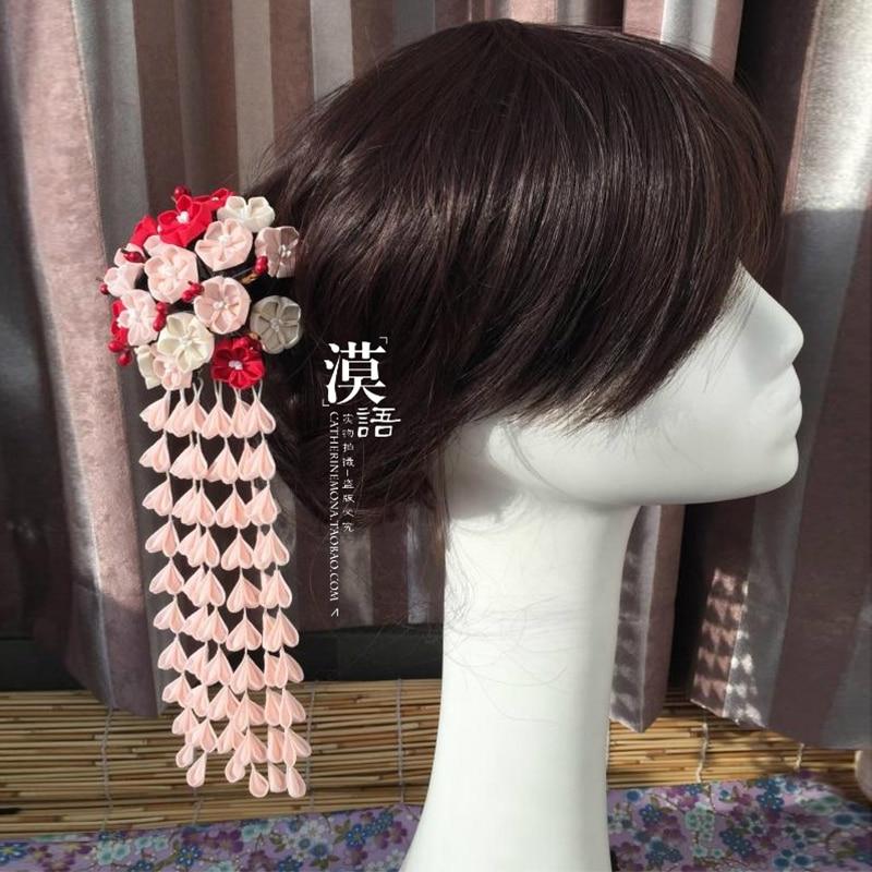 Japanese Headwear Traditional Style Kitty Geisha Canvas Floral Lovely Hair Sticks Headdress Customized