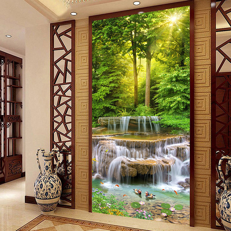 Custom Mural Wallpaper Classic Forest Waterfalls Nature Landscape Photo Wall Murals Hotel Living Room Entrance Backdrop Wall 3D
