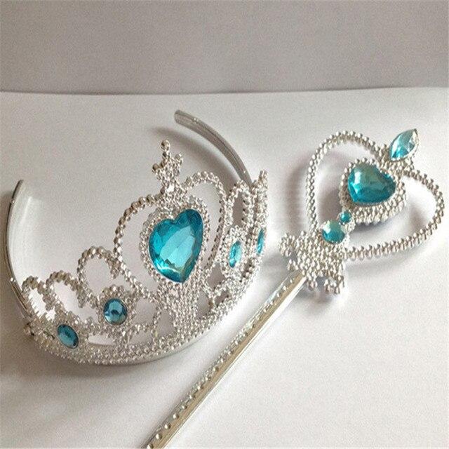 2 unids set bonita princesa Elsa corona Cosplay navidad regalo niñas  accesorios para el cabello 027e68778af7
