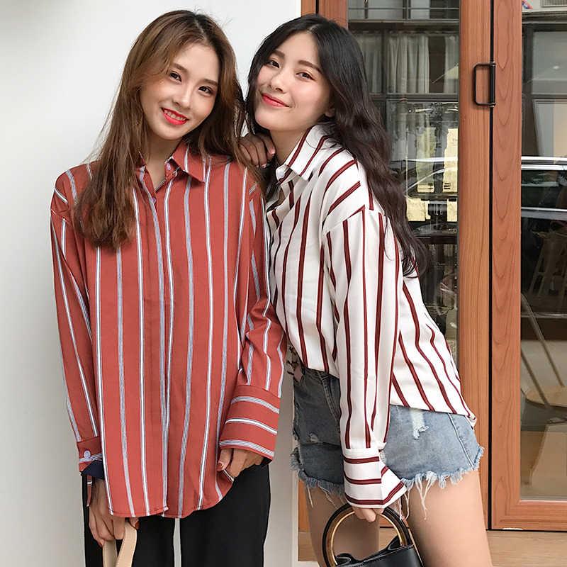 43875561615 ... Fashion Womens Blouses 2018 Spring Autumn Korean Ulzzang Harajuku Vintage  Striped Long Sleeve Blouse Women Casual ...
