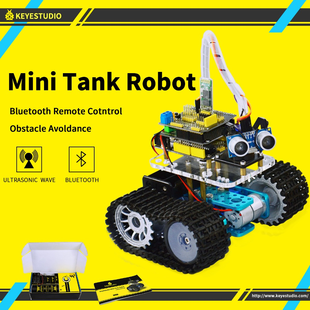 keyestudio Programabl Tank Robot for Arduino Starter Project Smart Car Kit with UNO R3 Tutorial book