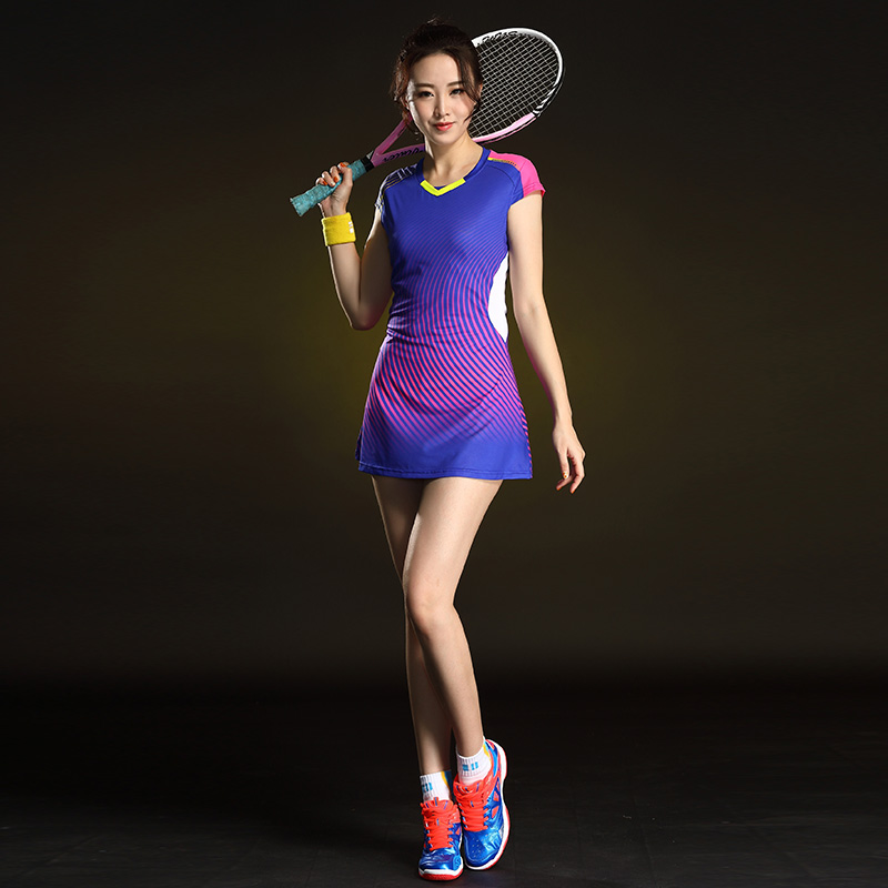 Badminton Dress Short Sleeve Quick-drying Tennis Sports Dress Women's Badminton Clothing With Safety Shorts