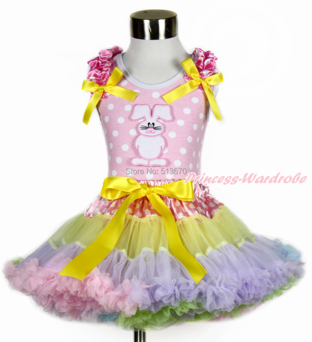 Easter Pink White Dot Top Rabbit Bunny Dot Waist Rainbow Girl Pettiskirt 1-8Year MH201 rhinestone happy easter white top shirt hot pink bunny rabbit satin trim baby girl skirt set 1 8y mapsa0494