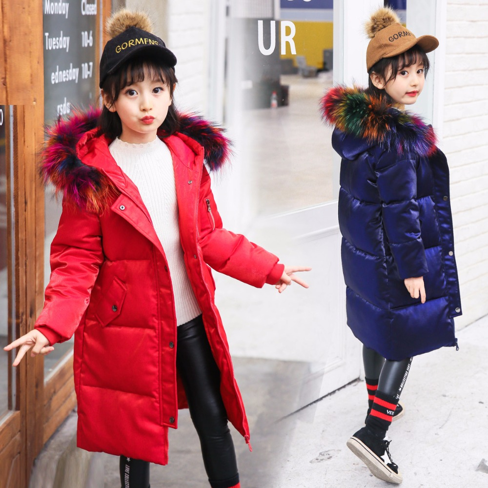 HSSCZL Girls Down Jackets Thicken Winter 2018 Brand Girl Down Coats Children Outerwear Overcoat Hooded Colored Fur Collar 6-14A 2017 girls down jacket winter long jackets children outerwear coats fashion big collar solid pockets thick warm overcoat 120 150
