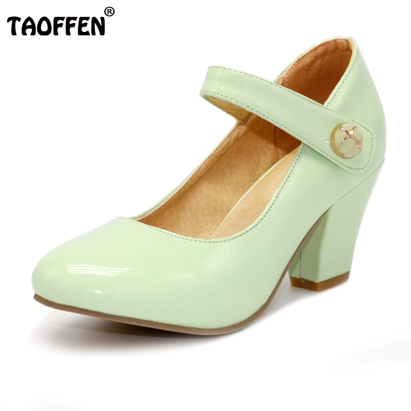 TAOFFEN 8 Colors Size 32-48 Lady High Heels Pumps Round Toe Patent Leather Thick High Heeled Shoes Women Candy Colors Footwears