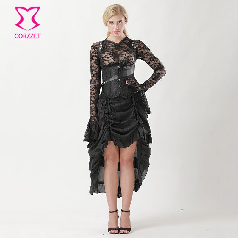 Black Brocade Sexy Cupless Gothic Corset Skirt Outfits Burlesque Dress Victorian Steampunk Underbust Corset Vest Bustier Dresses