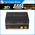 New arrival HDMI Splitter 1X2 with HDMI audio extractor HDMi to HDMI Spdif/LR audio output with power