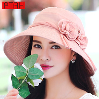PTAH Straw Visor Foldable Wide Large Brim Floppy Hats For Women Floral Bowknot Adjustable Caps Lady