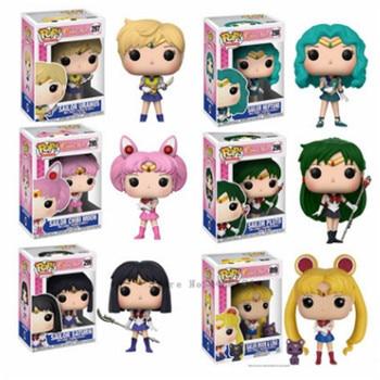 цена на FUNKO Pop Sailor Moon&Luna Theme Figure Statue Hare Character Action Figure Doll Sailor Chibi Moon Sailor Neptune Gift for Girls