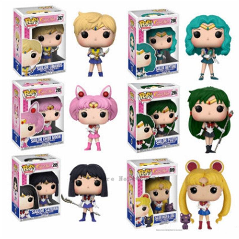 FUNKO Pop Sailor Moon & Luna figura temática estatua liebre personaje figura de acción muñeca Sailor Chibi Moon Sailor Neptune regalo para niñas