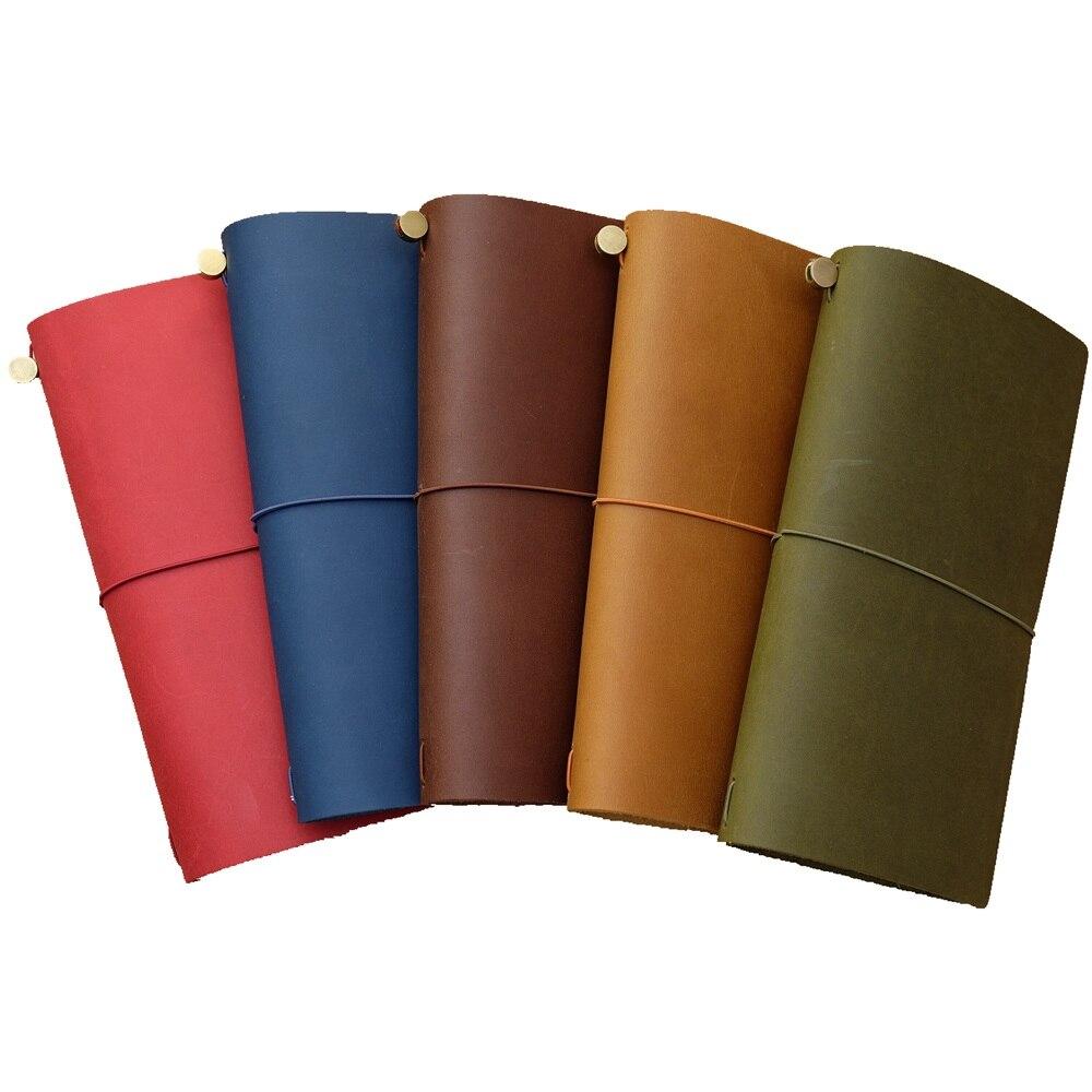 100% Genuine Leather Traveler's Notebook Diary Journal Vintage Handmade Cowhide Gift Travel Free Lettering Embosse