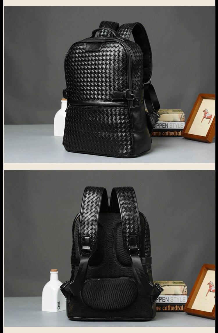 Laptop Backpack for Men 14 Womens Travel Shoulder Bag 13.3 Mens Business Computer Bag Shoulder Bag Leather Laptop Backpack Black