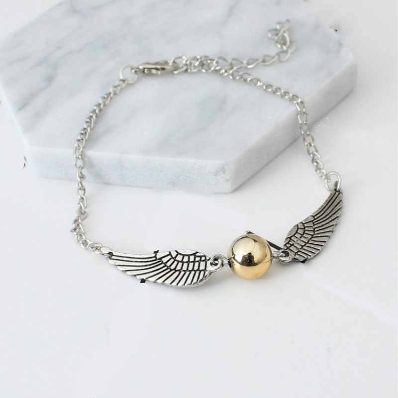 Mujer Pulseira Bijoux New Punk Snitch Vintage Wing Feather pulseira Bead Chain Bracelet Bangle Men Women Jewelry Girl Gift