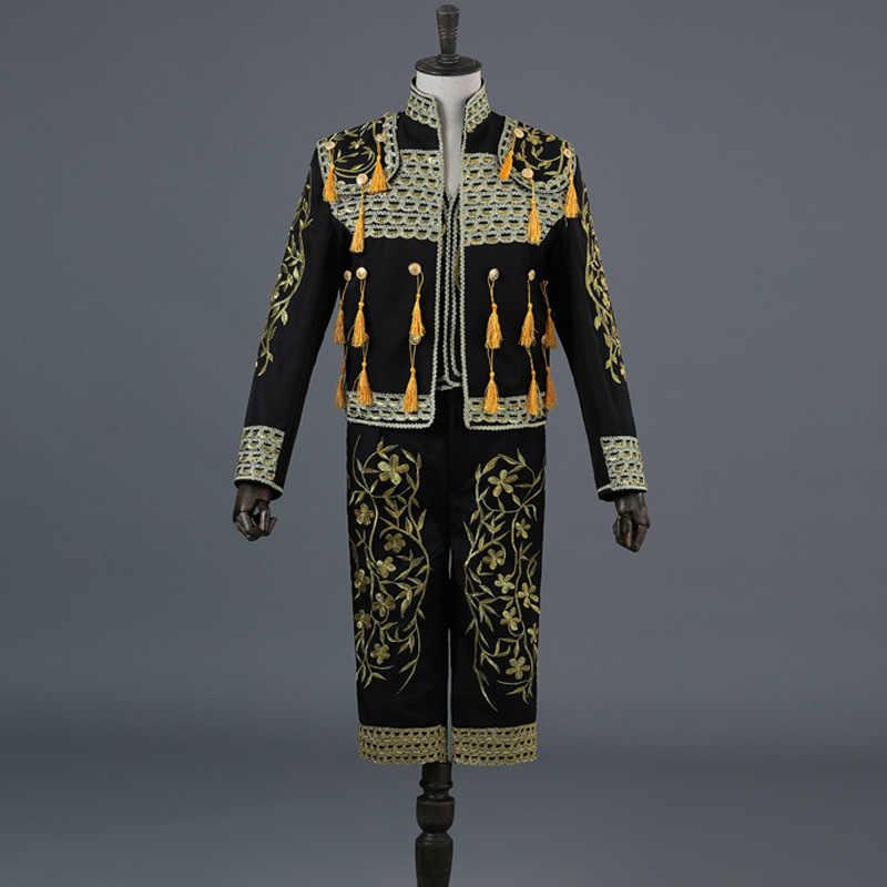 ヨーロッパ裁判所 3 ピーススーツ男性ゴールド刺繍タッセルメンズ白闘牛士衣装ブレザージャケットステージショーダンススーツ Hombre