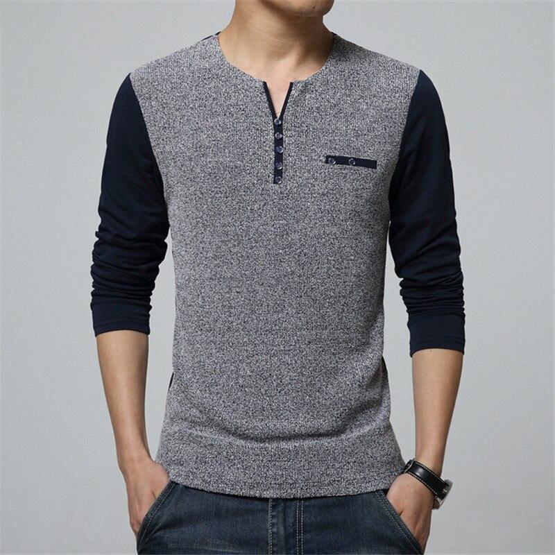New Spring Men Shirt V-Neck Slim Fit Lons