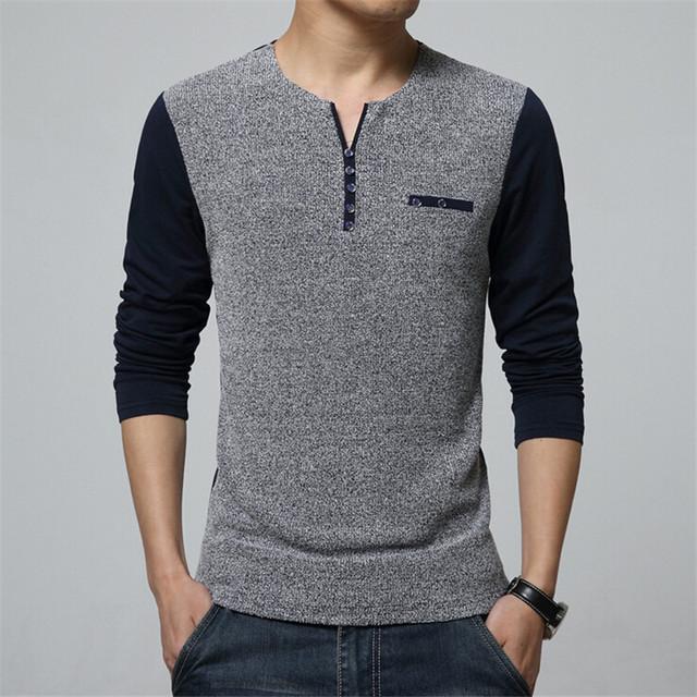 Nova primavera homens camisa pescoço Slim Fit de manga comprida camisas dos homens de alta qualidade Casual t tops Homme Plus Size 5XL