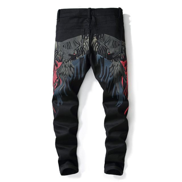 Sokotoo Men's colored pattern 3D printed back jeans Fashion eagle painted slim fit straight pants