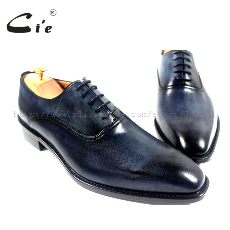 цена на cie square toe mackay craft handmade genuine calf leather upper inner outsole work&career men's oxford shoe color navy OX176