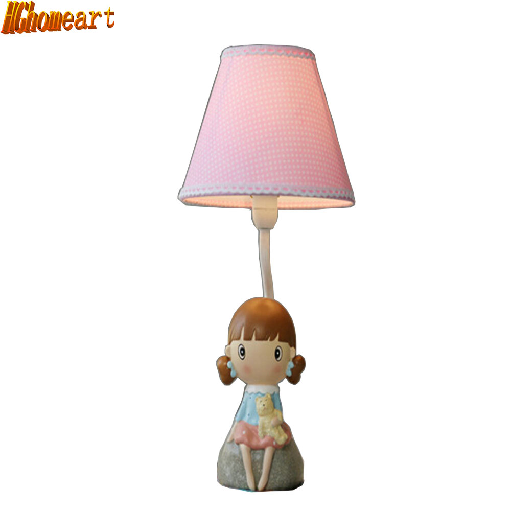 HGhomeart Decorative Girl Romantic Table Lamp E14 110V-220V Children Room Switch Button Table Light Study Led Desk Lamp hghomeart children room captain bear modern table lamp kids wooden desk lamp e14 reading led lamp switch button study lamps