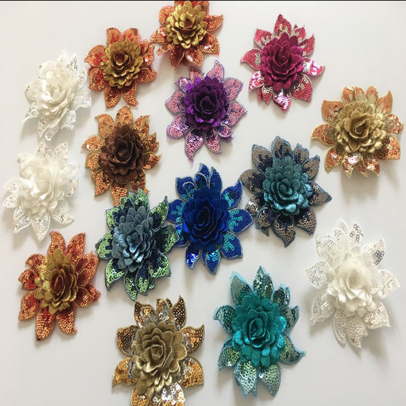SASKIA 20Pc 3d Small Flower Sequin Patches Embroidery Patch Military Applique Sew Clothing Wedding Evening Dress Accessories