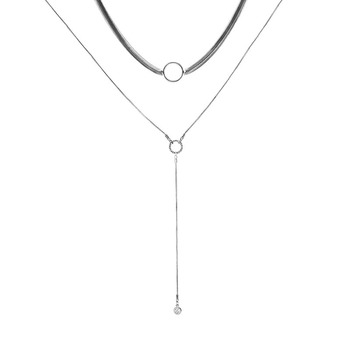 8c6a183e1eb4 De plata 925 al por mayor elegante colgante y collar de mujer largo collar  de cristal regalos de boda para las mujeres Joyas collares con colgantes