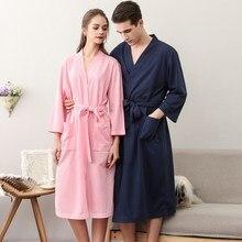 Lovers Fashion Waffle Dressing Gown Women Men Sexy Kimono Bathrobe Peignoir Bridesmaid Robes Plus Size