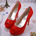Wedopus Super High Heels Party Shoes Platforms for Women Red Satin Peep Toes Bridal