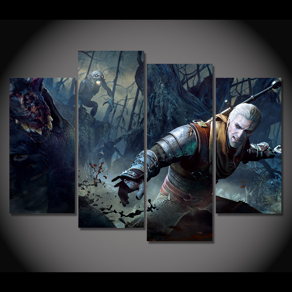 4 Teile/satz Gerahmte HD Gedruckt The Witcher 3 Spiel Bild Wandkunst ...