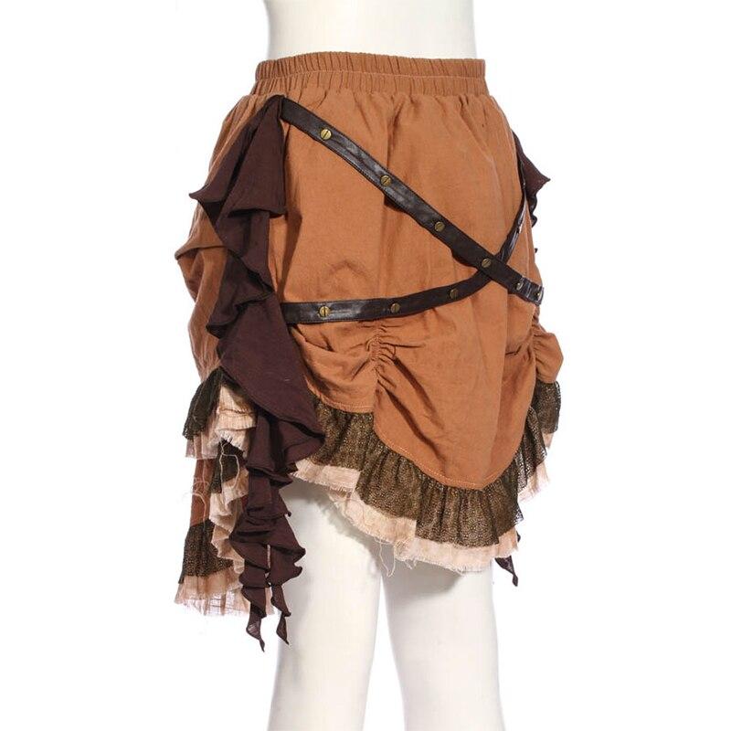Femmes Steampunk asymétrique jupe courte marron SP189FC