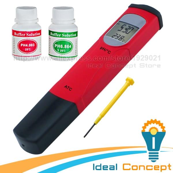 Pen-type pH Meter Tester Thermometer Temperature 0.00-14.00 pH range ATC Aquariums Swimming Pools Spa free shipping ph stick ph meter ph pen tester pen type range 2 1 10 8ph waterproof atc accuracy 0 1ph