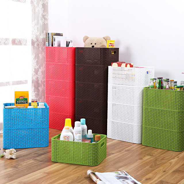 Superbe Superimposed Woven Plastic Storage Basket Desktop Multi Functional  Combination Of Multi Layer Debris Storage