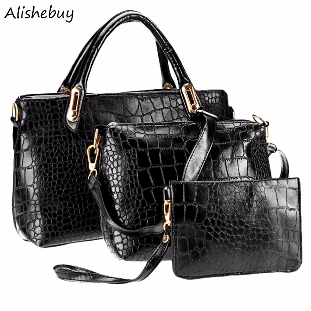Hot 3 Pcs/ Set Women Handbags PU Leather Totes Ladies Designs Bag Handbag Crossbody Messenger Bag Purse Composite Bag SV019596 new 2015 women handbags leather handbag women messenger bags ladies brand designs bag handbag messenger bag purse 6 sets gd05