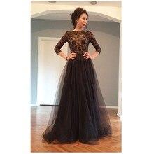 2016 Vintage A-Line Schwarz Farbe Prom Kleid Mit Appliques Und Kristall Lange Tüll Abendkleid Chiffon Lange Vestidos De Noche