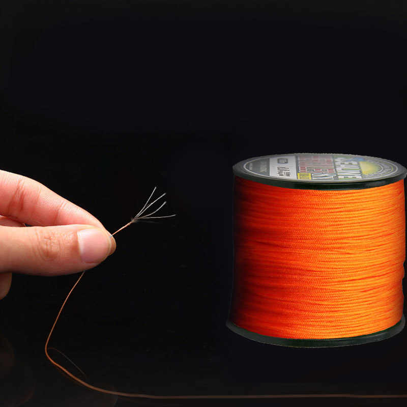 0.2-10.0# Orange Durable 1000m 4 Strands Multifilament PE Weaves Braided Wire Fish Line Outdoor Sea Fishing Tackle Equipment