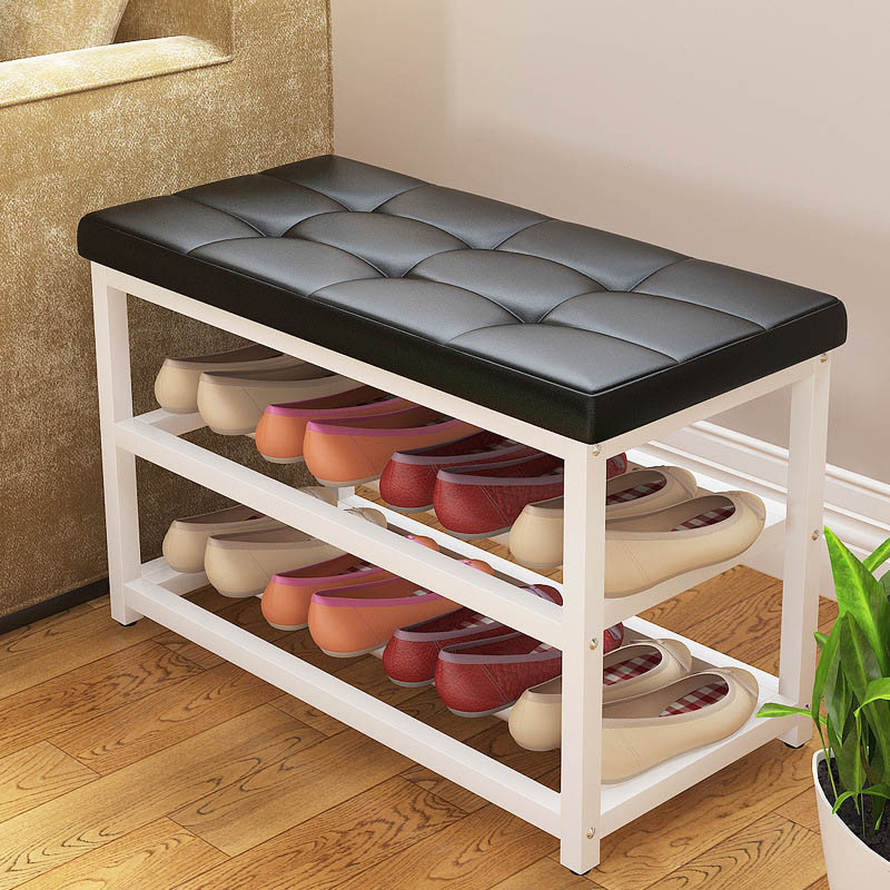 Simple Leather Cushion Shoe Bench Creative Storage Shoe