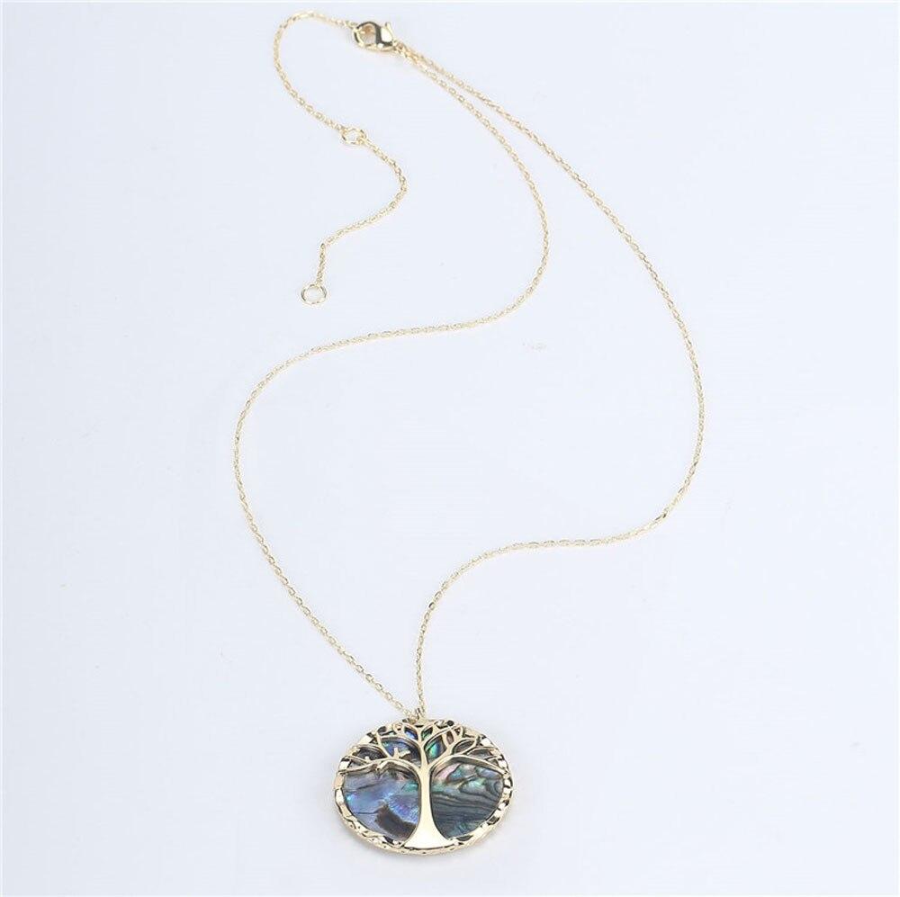 Collier avec pendentif rond, arbre de vie et nacre 3
