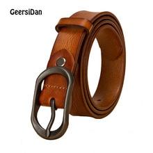 лучшая цена GEERSIDAN 2019 pin buckle Luxury Designer Belt for women High Quality brand cowskin genuine Leather Women waist Strap for Jeans