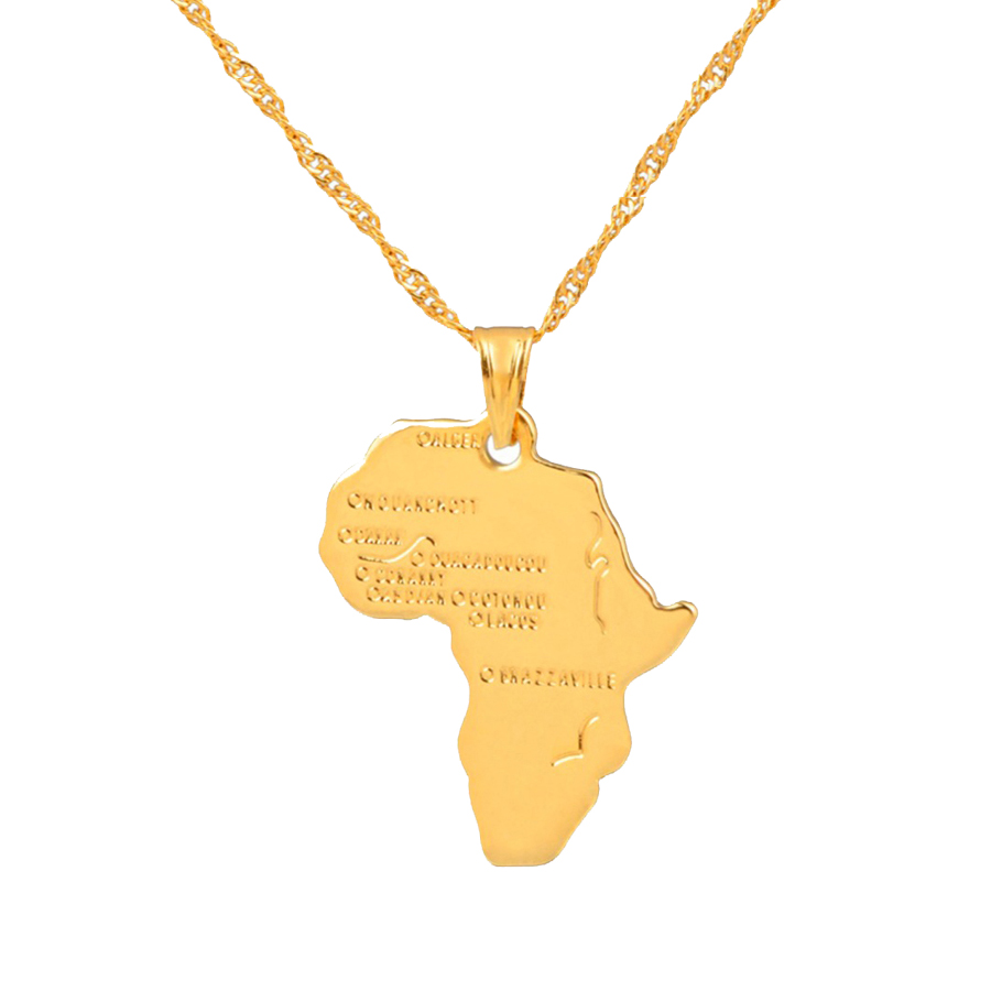 Anniyo Africa Map Pendant Necklace For Women Men Silver/Gold Color Ethiopian Jewelry Wholesale African Maps Hiphop Item #132106