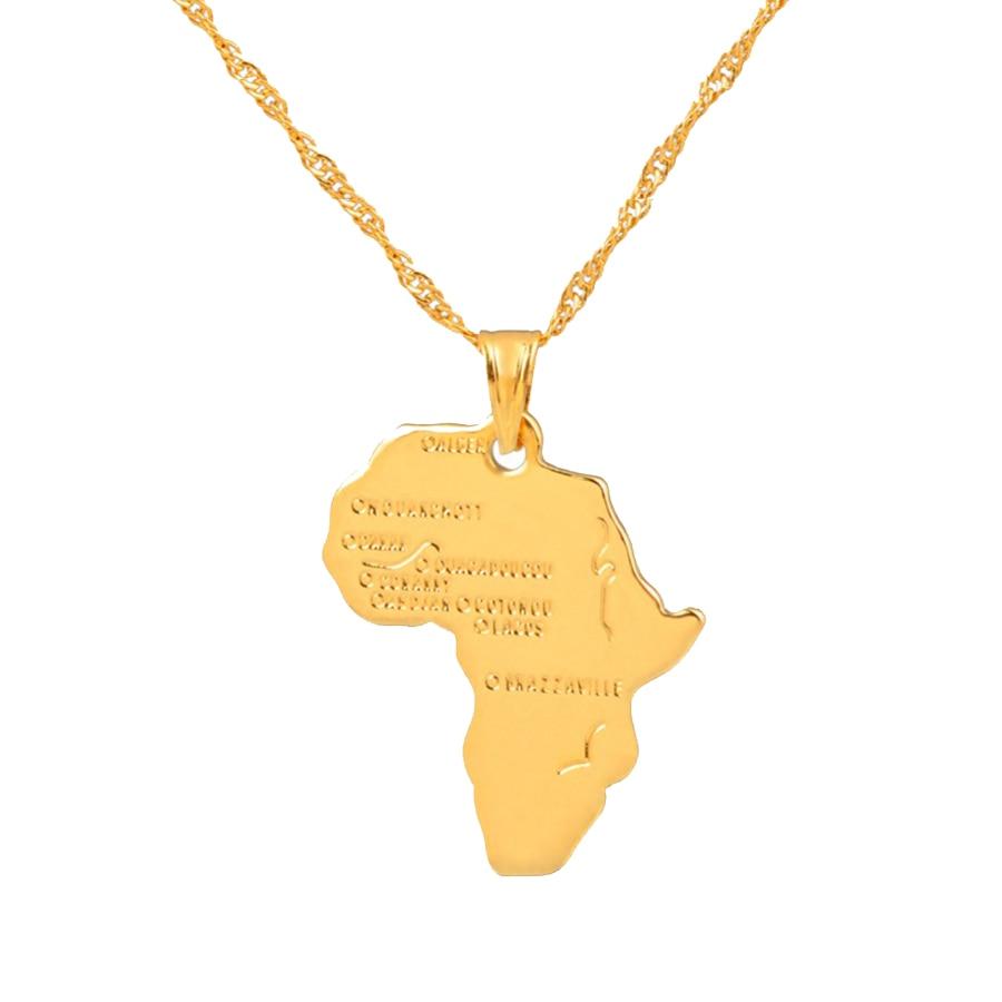 3f29a4e05 Anniyo أفريقيا قلادة على شكل خريطة قلادة للنساء الرجال الفضة/الذهب اللون  الاثيوبية مجوهرات الجملة الأفريقي خرائط الهيب هوب البند #132106