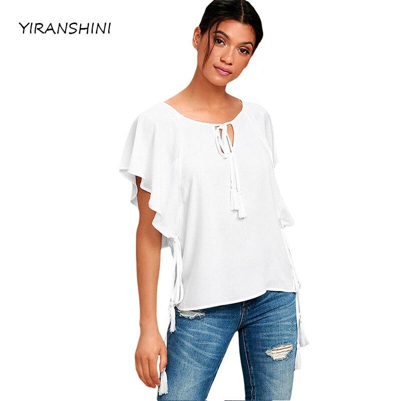 YIRANSHINI 2018 verano moda mujer o-cuello blanco Manga mariposa con borla mujeres atractivas Ruffles camisetas LC250067