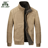 AFS JEEP 2017 Men's two sided wear jacket autumn casual brand army green coat spring man 100% cotton khaki classic jackets coats