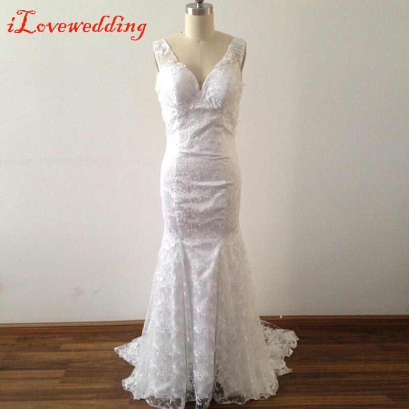 2016 Women Ivory White Lace Wedding Dresses Bohemian Mermaid Long Bridal Gowns Open Back Sleeveless Sweep Train V-Neck Vestidos