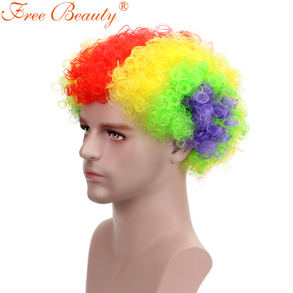 8 Short Curly Adult Clown Wig Piano Color Synthetic Hair Wigs For Men 80g Football Fan Wigs