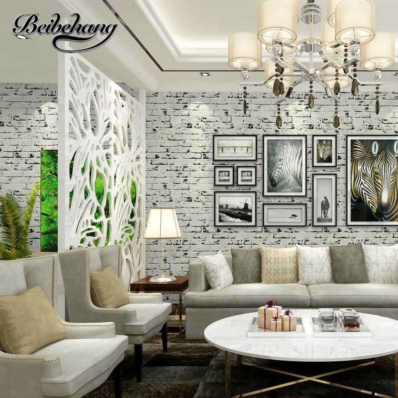 beibehang Thick Mediterranean white brick pattern nonwovens culture brick wallpaper living room restaurant TV wall wallpaper
