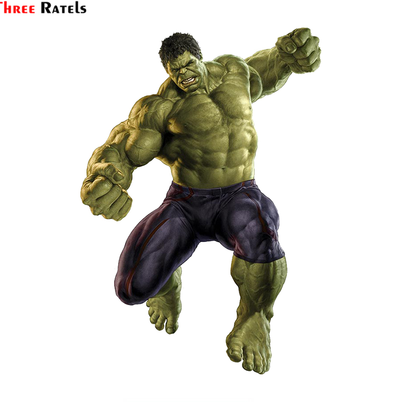 Three Ratels LCS276# 12x17cm Furious Hulk Colorful Car Sticker Funny Car Stickers Styling Removable Decal