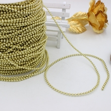 Free Shipping 5Meter3mm Gold/Silver Color Craft Imitation Pearl Beads Cotton Line Chain For DIY Wedding Party Decoration Party